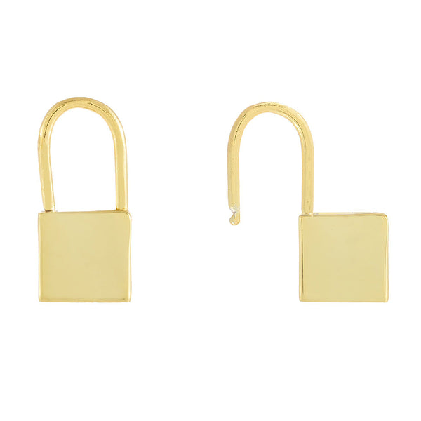 Gold / Engraved Engraved Solid Lock Huggie Earring - Adina's Jewels