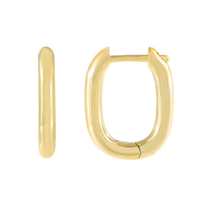 Gold Solid Oval Huggie Earring - Adina's Jewels