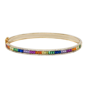 Multi-Color Baguette X Round Bangle - Adina's Jewels