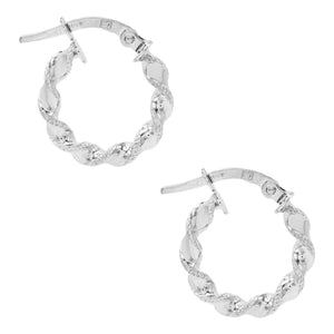 14K White Gold Twisted Mini Hoop Earring 14K - Adina's Jewels