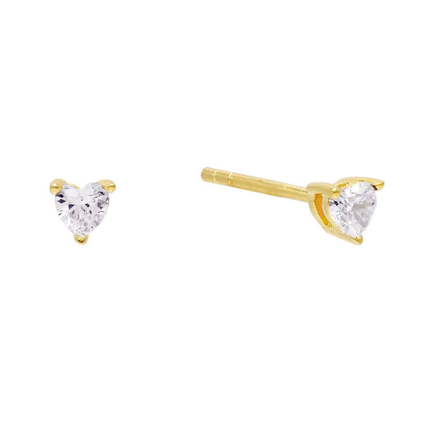Gold CZ Heart Stud Earring - Adina's Jewels