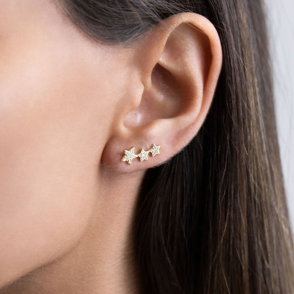 Triple Pavé Star Ear Climber - Adina's Jewels