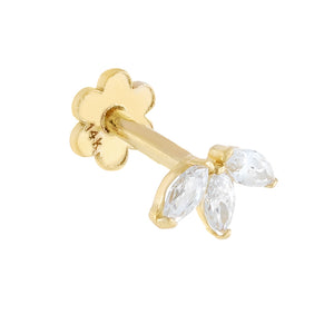14K Gold / Single Tiny CZ Marquis Threaded Stud Earring 14K - Adina's Jewels