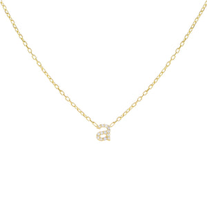 Gold / A Tiny Lowercase Pavé Initial Necklace - Adina's Jewels