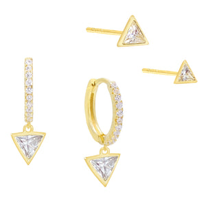 CZ Triangle Huggie X Stud Earring Combo Set Gold - Adina's Jewels