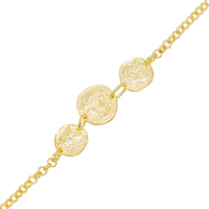 Gold Triple Coin Rollo Bracelet - Adina's Jewels