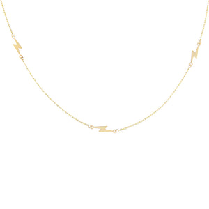 14K Gold Triple Lightning Bolt Necklace 14K - Adina's Jewels