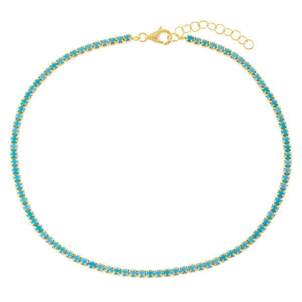 Turquoise Thin Tennis Anklet - Adina's Jewels