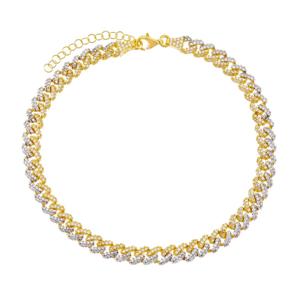 Combo Two Tone Pavé Chain Link Anklet - Adina's Jewels