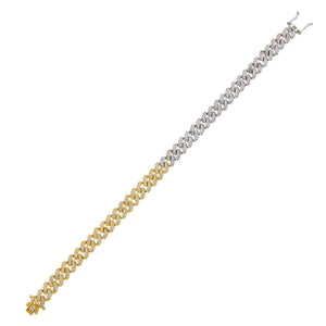 Combo Pavé Two Tone Chain Link Bracelet - Adina's Jewels
