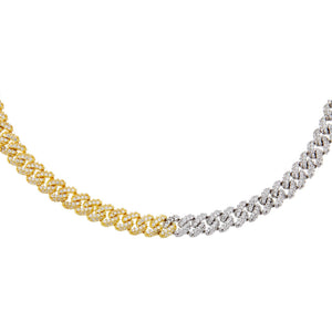 Combo Pavé Two Tone Chain Link Choker - Adina's Jewels