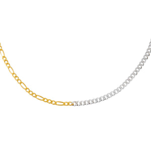 Combo Thin Two Tone Figaro X Cuban Necklace - Adina's Jewels