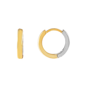 Combo Two Tone Huggie Earring - Adina's Jewels