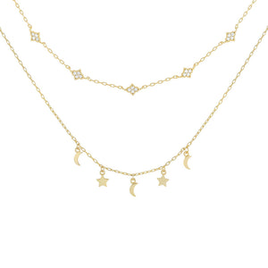 Gold Two In One Charm Necklace/Choker - Adina's Jewels