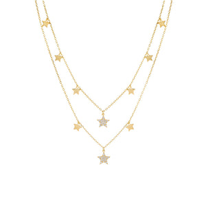 Gold Two In One Stars Necklace/Choker - Adina's Jewels