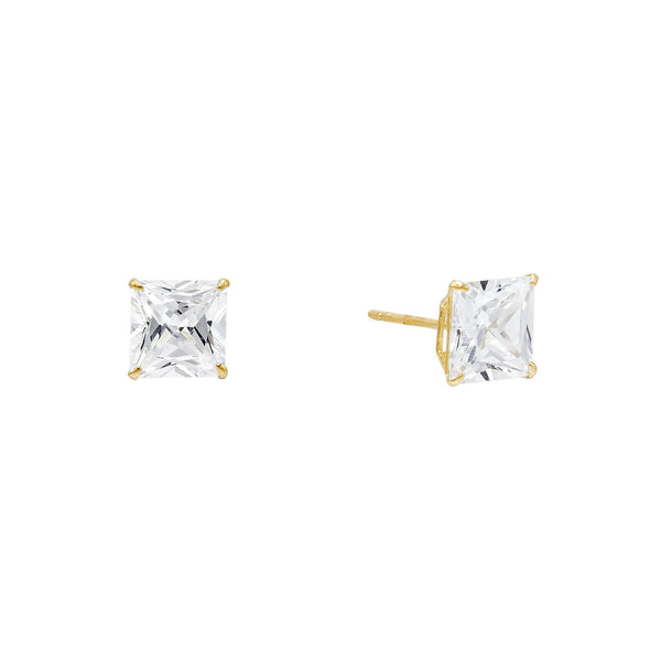 14K Gold / 4 MM / Pair Princess Cut Stud Earring 14K - Adina's Jewels