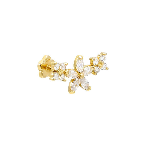 14K Gold / Single Flower Threaded Stud Earring 14K - Adina's Jewels