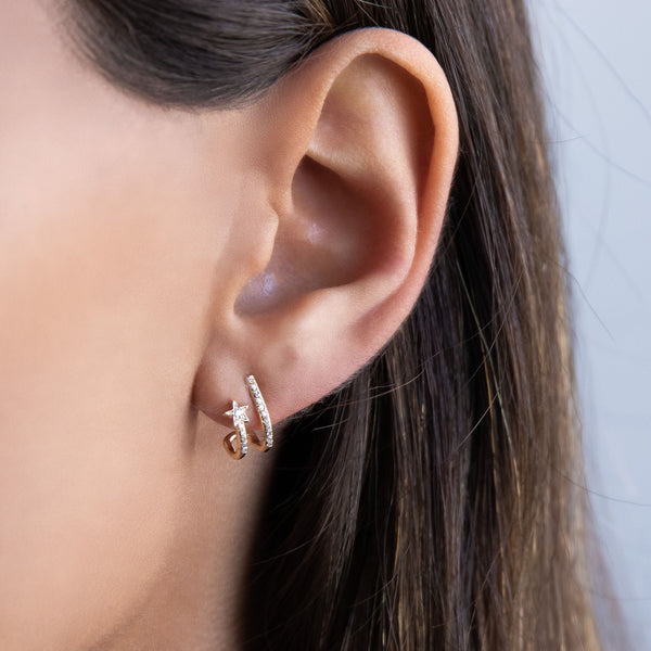 Diamond Shooting Star Stud Earring 14K - Adina's Jewels