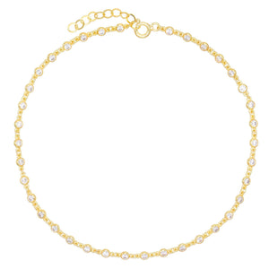 Gold Bezel Chain Anklet - Adina's Jewels