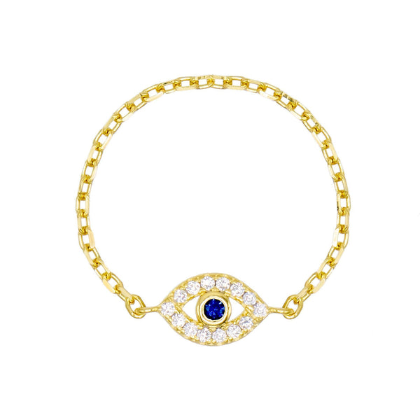 Sapphire Blue / 6 Evil Eye Chain Ring - Adina's Jewels