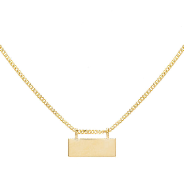 14K Gold / Engraved Engraved Bar Chain Necklace 14K - Adina's Jewels