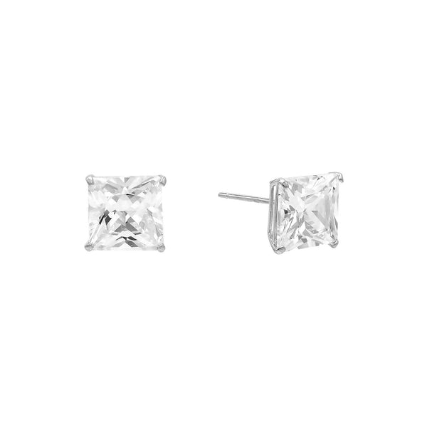 14K White Gold / 5 MM / Pair Princess Cut Stud Earring 14K - Adina's Jewels