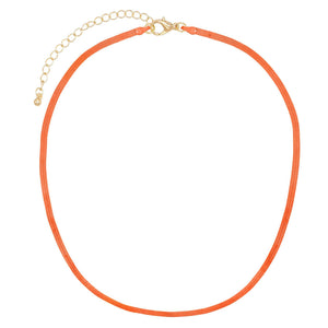 Neon Orange Neon Herringbone Necklace - Adina's Jewels