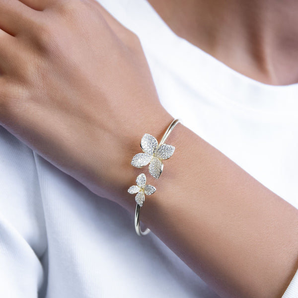 Pave Flower Bangle - Adina's Jewels