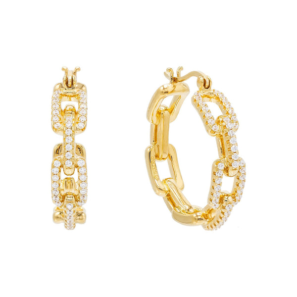 Gold Pavé Chain Hoop Earring - Adina's Jewels