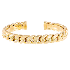 14K Gold Wide Cuban Chain Bangle 14K - Adina's Jewels