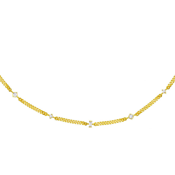 Gold Stones Cuban Choker - Adina's Jewels