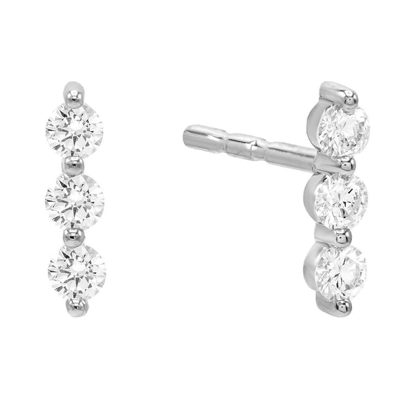 Diamond Trio Bezel Stud Earring 14K