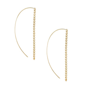 14K Gold / Pair XL Baby Cuban Threader Earring 14K - Adina's Jewels