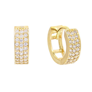 Triple Row Huggie Earring 14K 14K Gold - Adina's Jewels