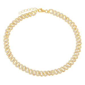 Gold XS Pavé Chain Link Anklet - Adina's Jewels