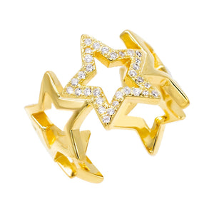 Open Star Ring Gold - Adina's Jewels
