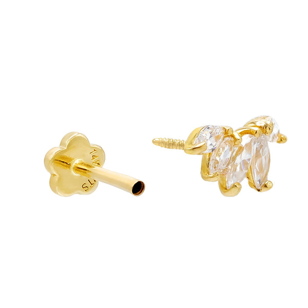 Marquise Threaded Stud Earring 14K - Adina's Jewels