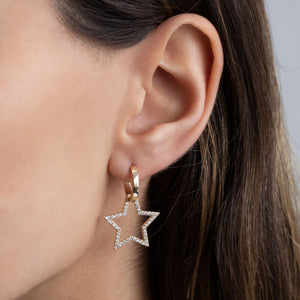 Open Pavé Star Huggie Earring - Adina's Jewels