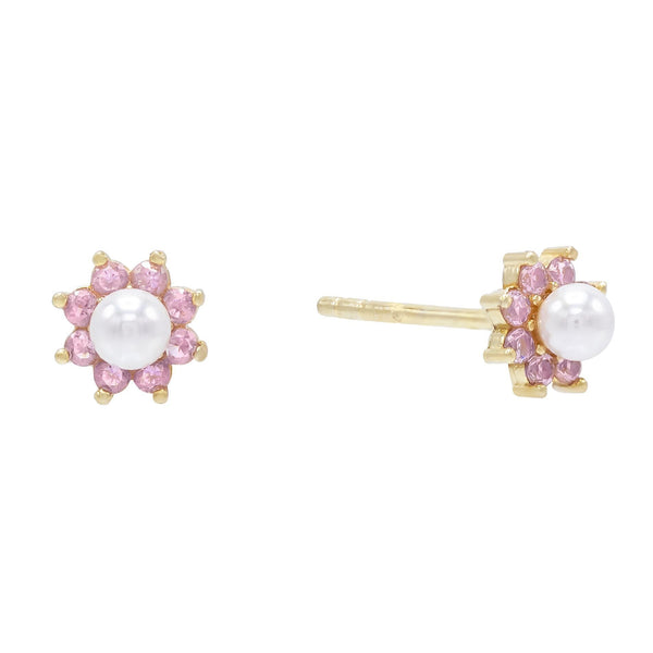 Light Pink Pastel Pearl Flower Stud Earring - Adina's Jewels
