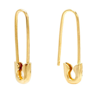 Solid Safety Pin Earring 14K 14K Gold - Adina's Jewels