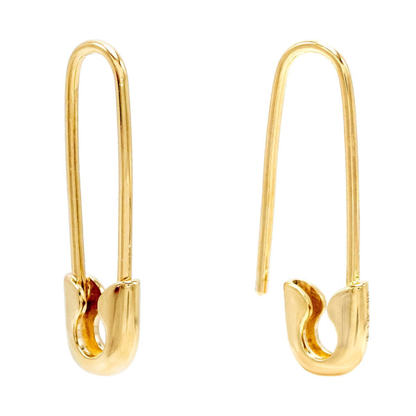 14K Gold Solid Safety Pin Earring 14K - Adina's Jewels