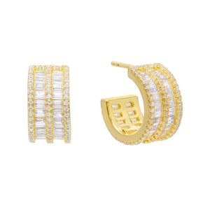 Round X Baguette Double Row Hoop Earring Gold - Adina's Jewels