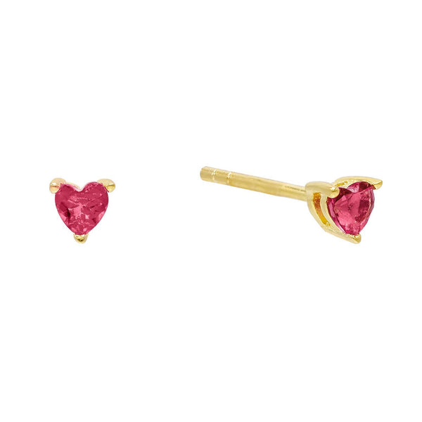 Magenta CZ Heart Stud Earring - Adina's Jewels