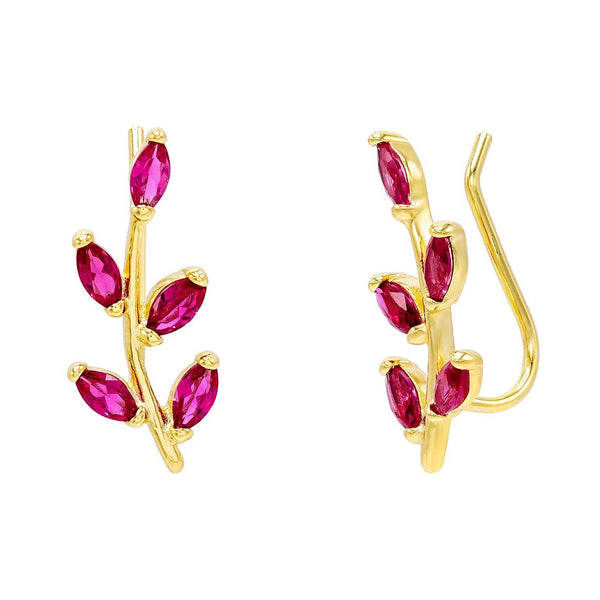Magenta Colored Leaf Stone Ear Climber - Adina's Jewels