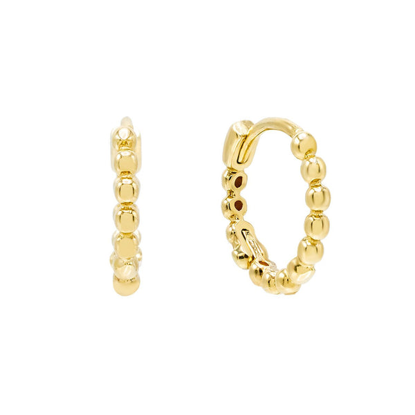 Gold / Pair Beaded Huggie Earring 14K - Adina's Jewels