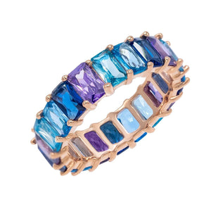 Ombré Blue Eternity Band Sapphire Blue / 5 - Adina's Jewels