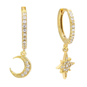 Gold CZ Moon & Star Huggie Earring - Adina's Jewels