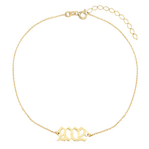 14K Gold Gothic Year Anklet 14K - Adina's Jewels