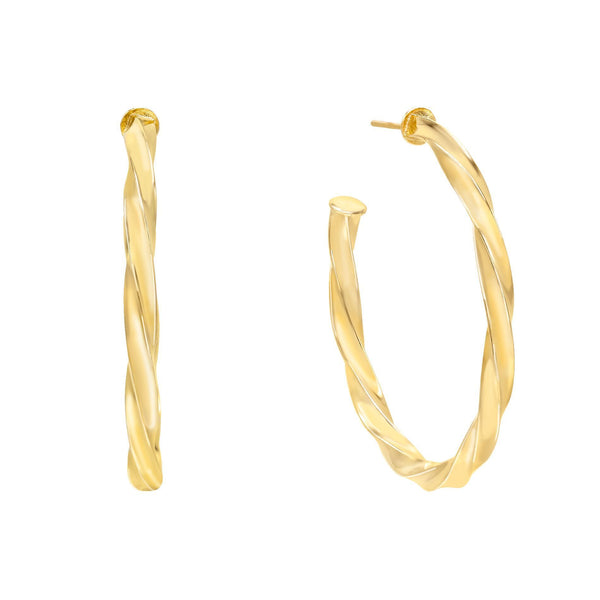 Gold Twisted Hoop Earring - Adina's Jewels