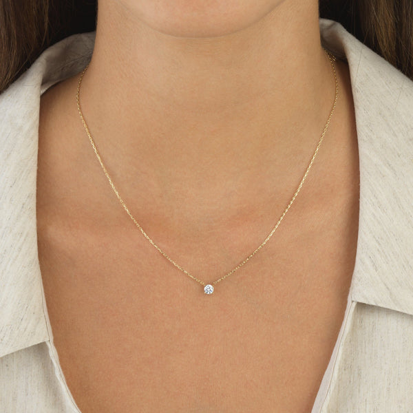Solitaire Necklace 14K - Adina's Jewels